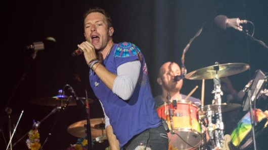 Chris Martin, Frontmann der Band Coldplay, in action.