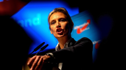 COLOGNE, GERMANY - APRIL 23: Member of Germany's right-wing populist Alternative for Germany (AfD) party Alice Weidel delivers a speech after her nomination as one of the campaign leaders of Germany's right-wing populist Alternative for Germany (AfD) party for the next German general election, during the federal congress of the right-wing populist Alternative for Germany (AfD) political party on April 23, 2017 in Cologne, Germany. The party is meeting following the recent surprise announcement by its chairwoman Frauke Petry that she will not run in German federal elections scheduled for September. The AfD saw a surge in popularity that helped it capture seats in 10 state parliaments, though more recently that party has seen its poll numbers slip. It has also been plagued by infighting between more moderate and radical factions of its leadership. (Photo by Sascha Schuermann/Getty Images) ***BESTPIX***